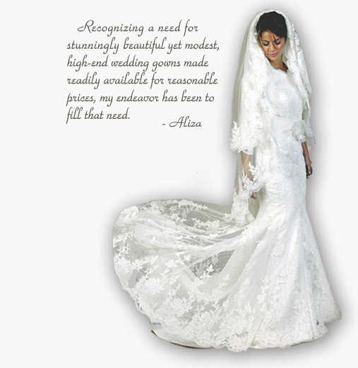 Model Dressed in one of Aliza's Bridal Gowns